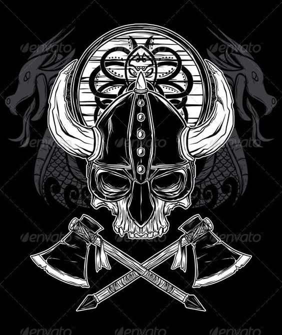 Vector Hand Drawn Viking Skull Axe And Shield Graphicriver Layered Ai And Eps Vector Hand Draw Caveira Tatoo Tatuagens Viking Desenhos Do Caveira