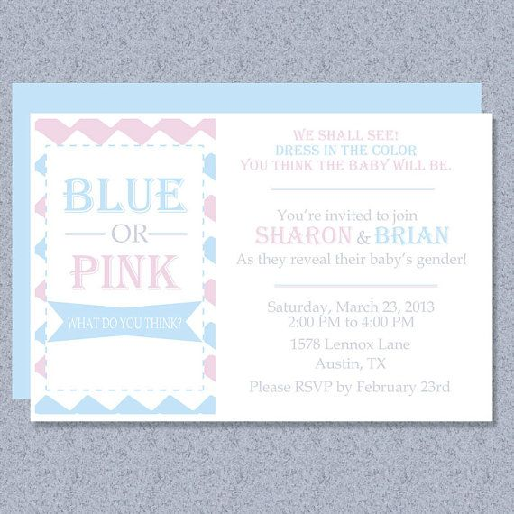 Cute gender reveal invitation template baby gender reveal party cute gender reveal invitation template stopboris Images