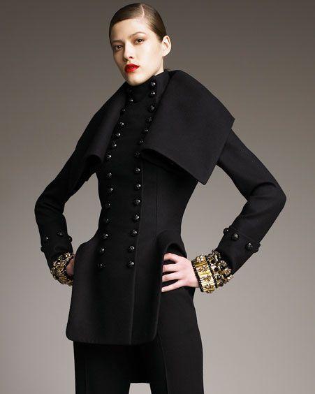 6fe5c88dd1cf structured hip panels  fold-over poet collar -- alexander mcqueen coat by  Sarah Burton .