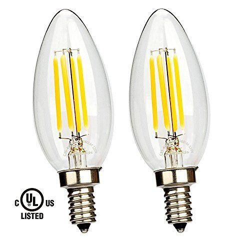 Leadleds 4W LED Filament Candelabra Bulb, E12 base 2700K