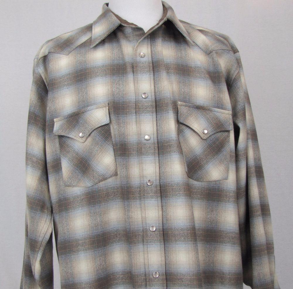 0129fe3b Pendleton Shirt 2X Tall Western Wear 100% Wool Shadow Plaid Pearl Snap  Vintage #Pendleton #Western