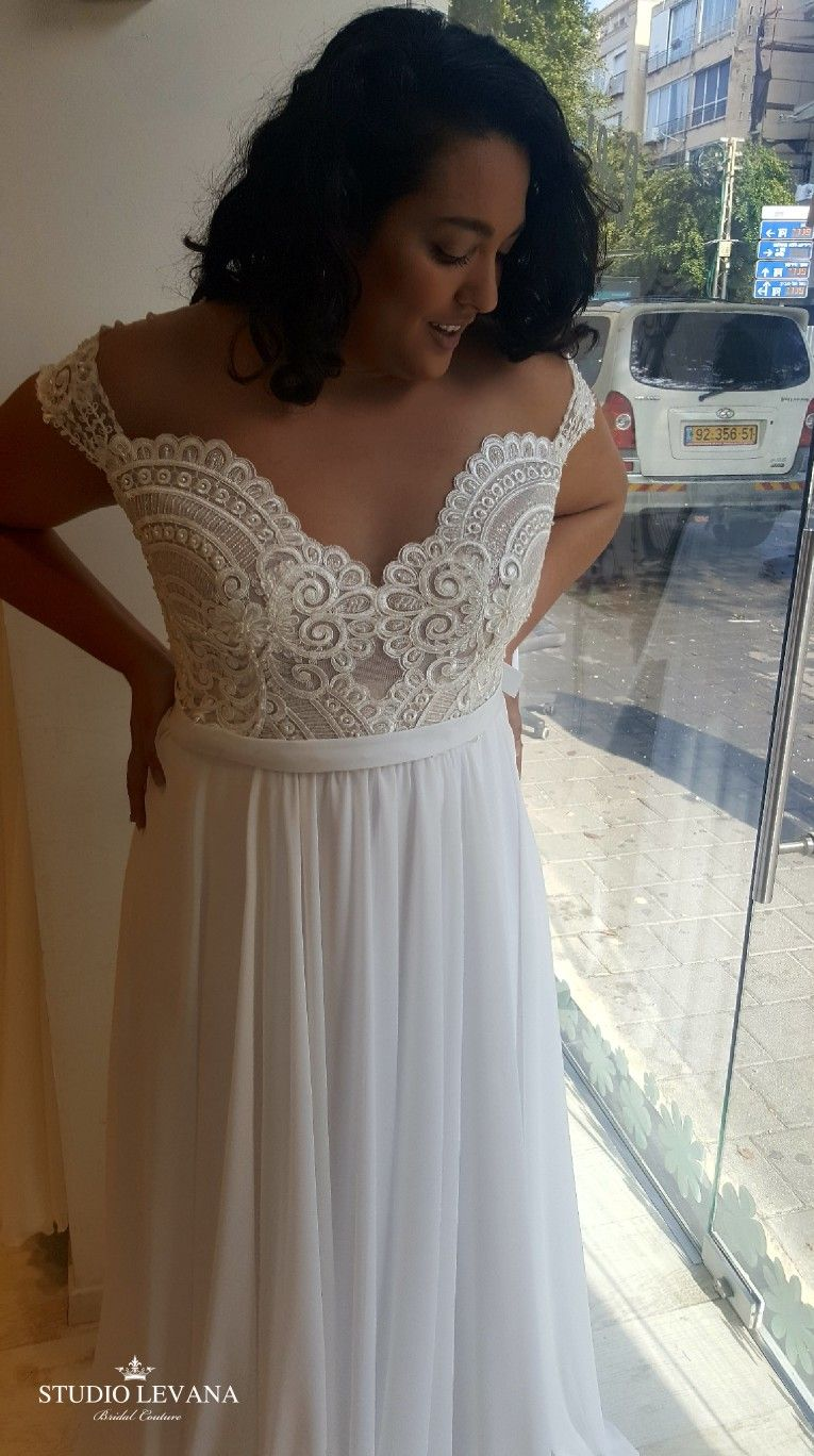Plus size wedding gown with off shoulder sleeves studio levana