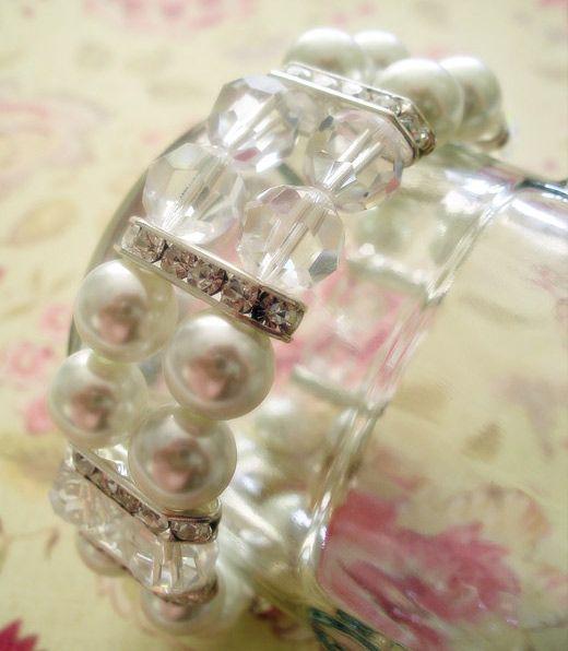 bracelet #jewelry #bracelet #howto #diy #tutorial #crystals #pearls #elastic #stretch