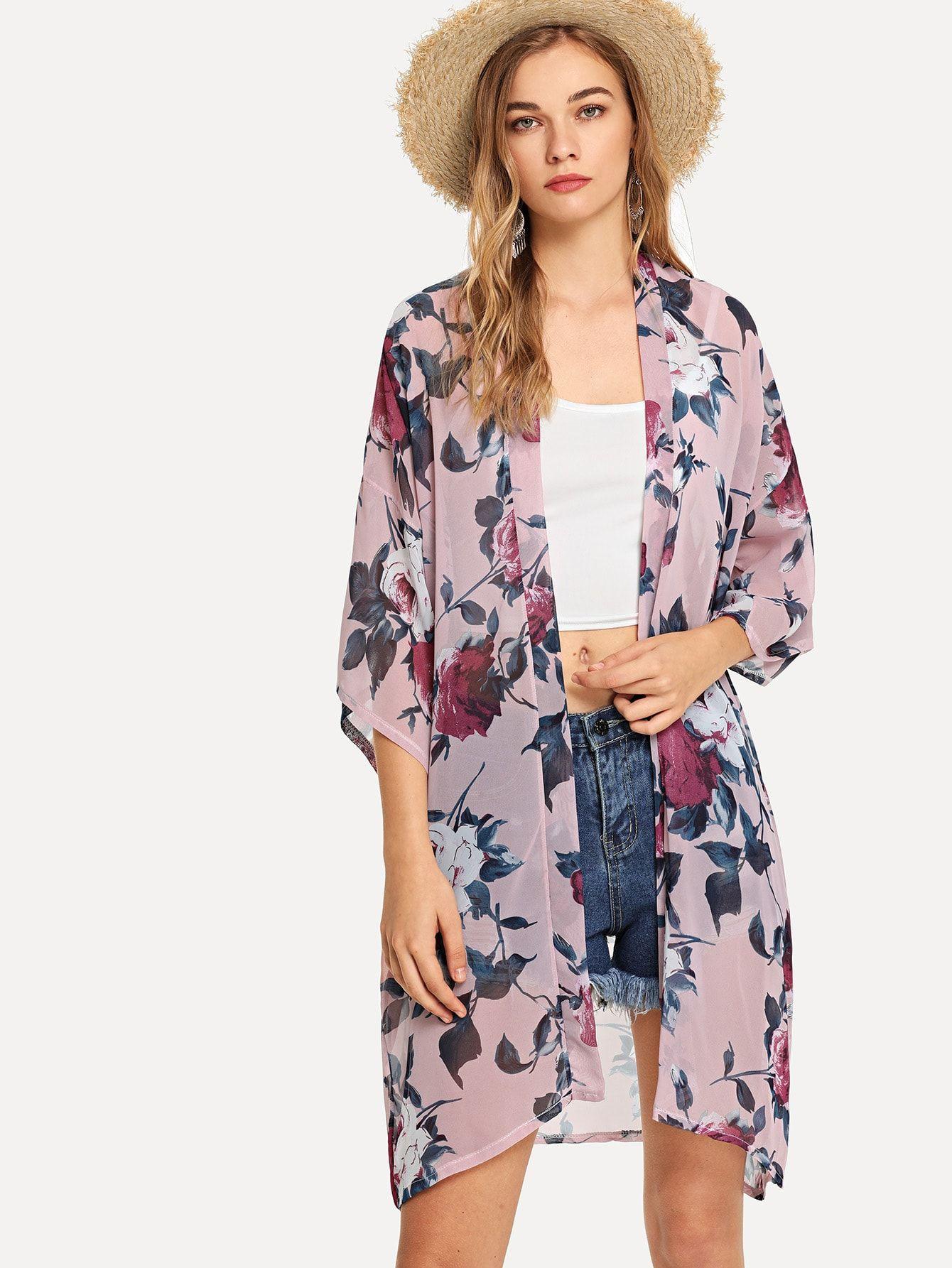 2e5234d990 Open Front Floral Print Kimono -SheIn(Sheinside) | Capas para verano ...