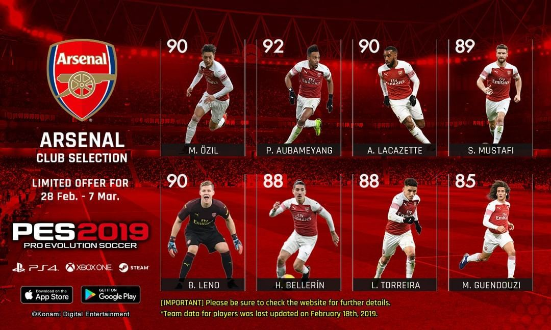 Pro Evolution Soccer : Eight @Arsenal players  You can add