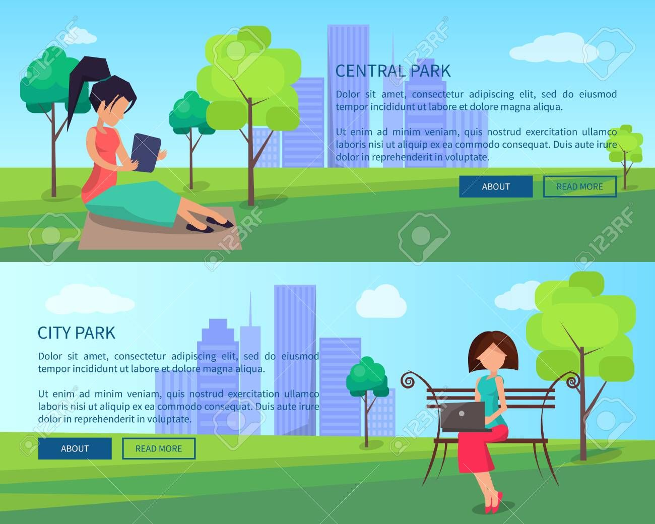 Central City Park Banners with People and Gadgets
