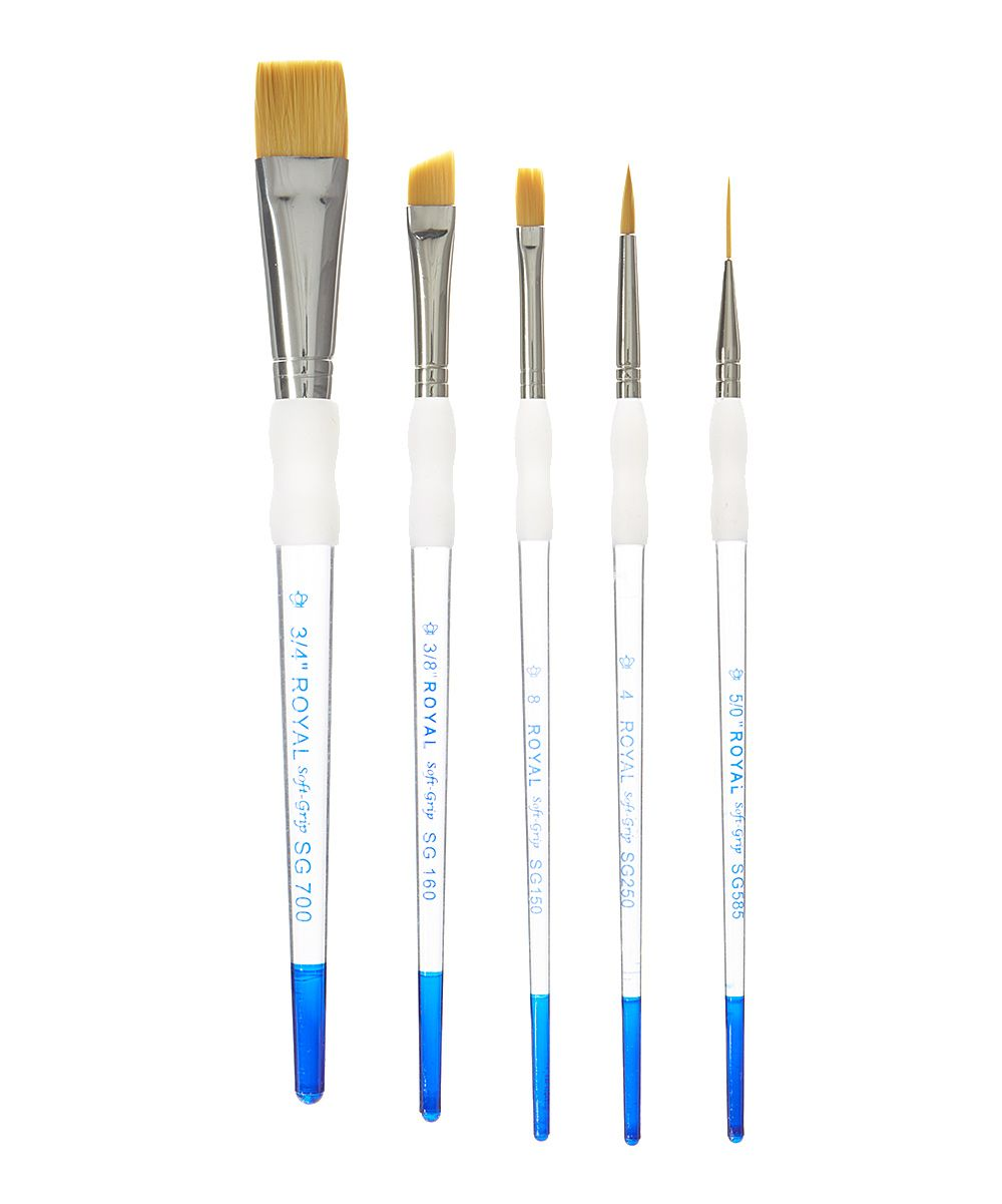 Five Piece Soft Grip Paint Brush Beginner Set With Images Art Painting Supplies Paint Brushes Painting Supplies