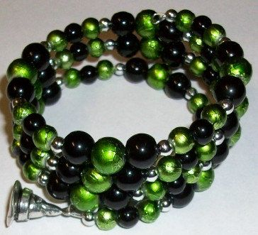 Black Green and Silver Beaded Bracelet with by ThreePinkPumpkins, $15.00