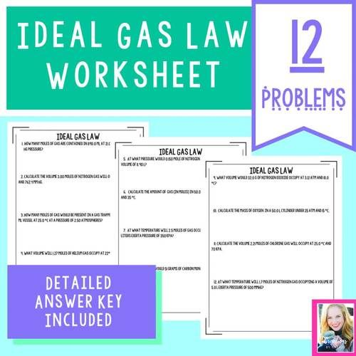Ideal Gas Law Worksheet - Answer Key Included - Distance ...