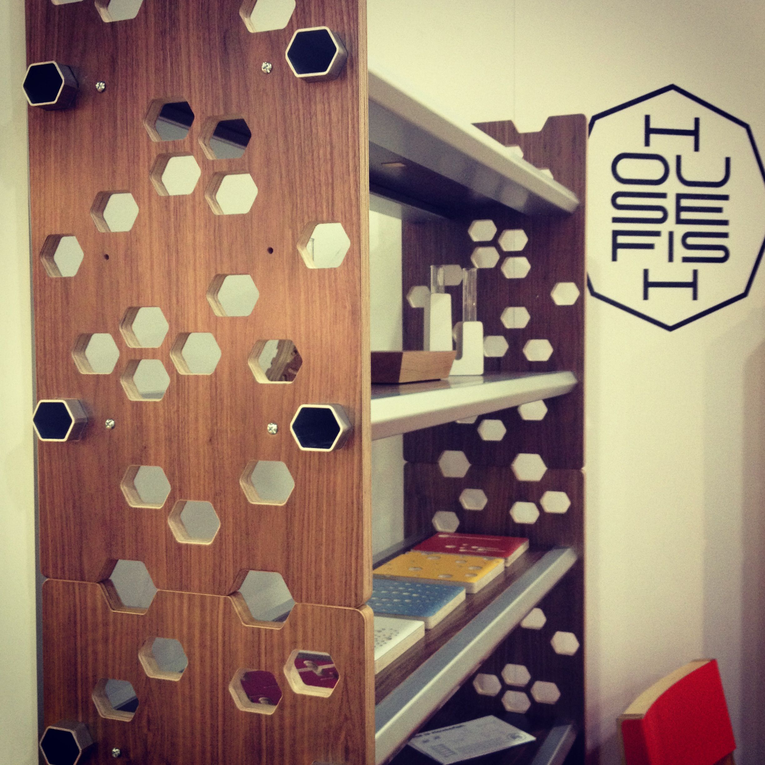 Housefish hex shelving in walnut housefish concepts and - Modular bedroom furniture systems ...