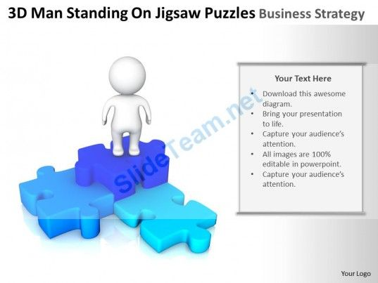 D Man Standing On Jigsaw Puzzles Business Strategy Ppt Graphics