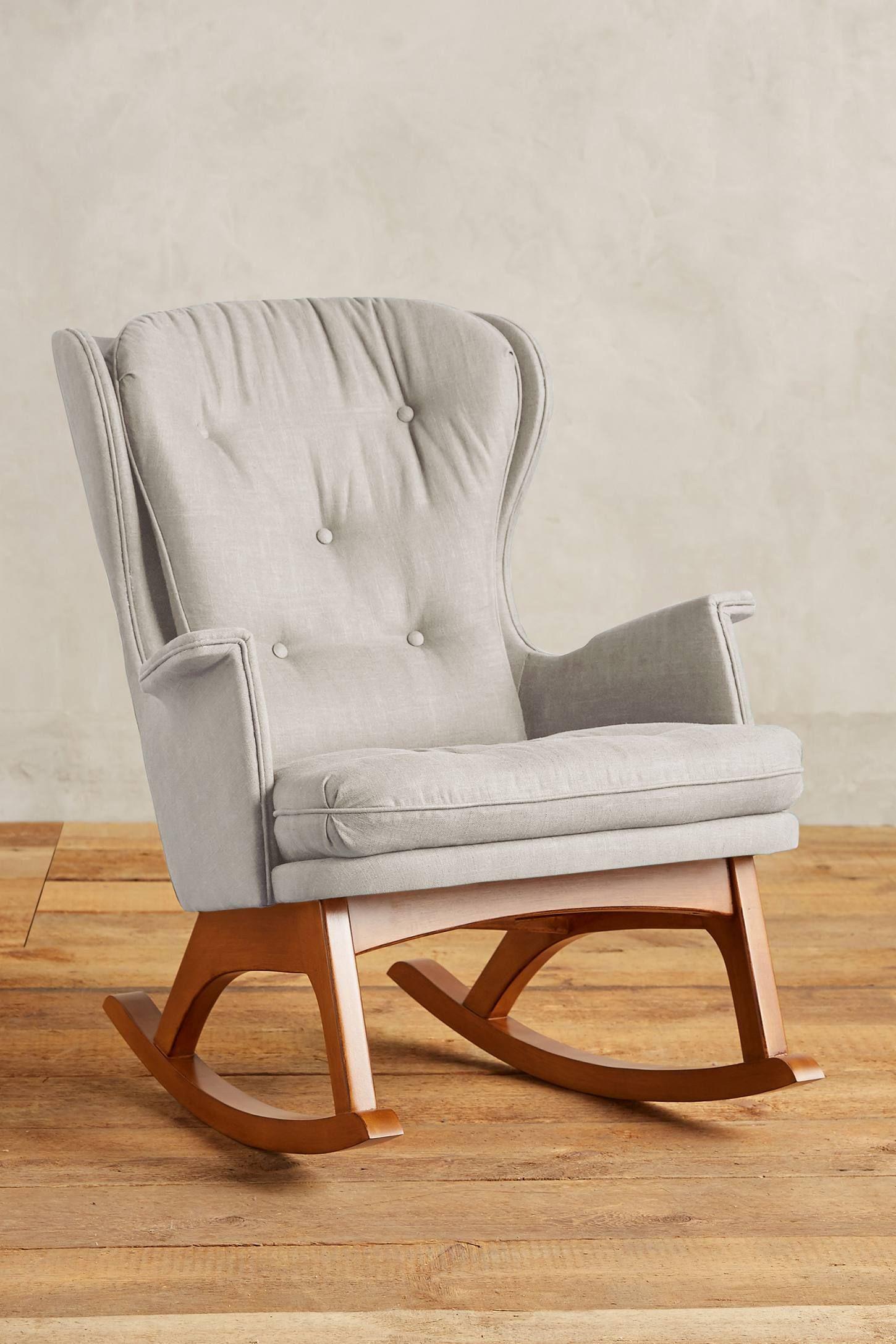Belgian Linen Finn Rocker Rocking Chair Unique Living Room