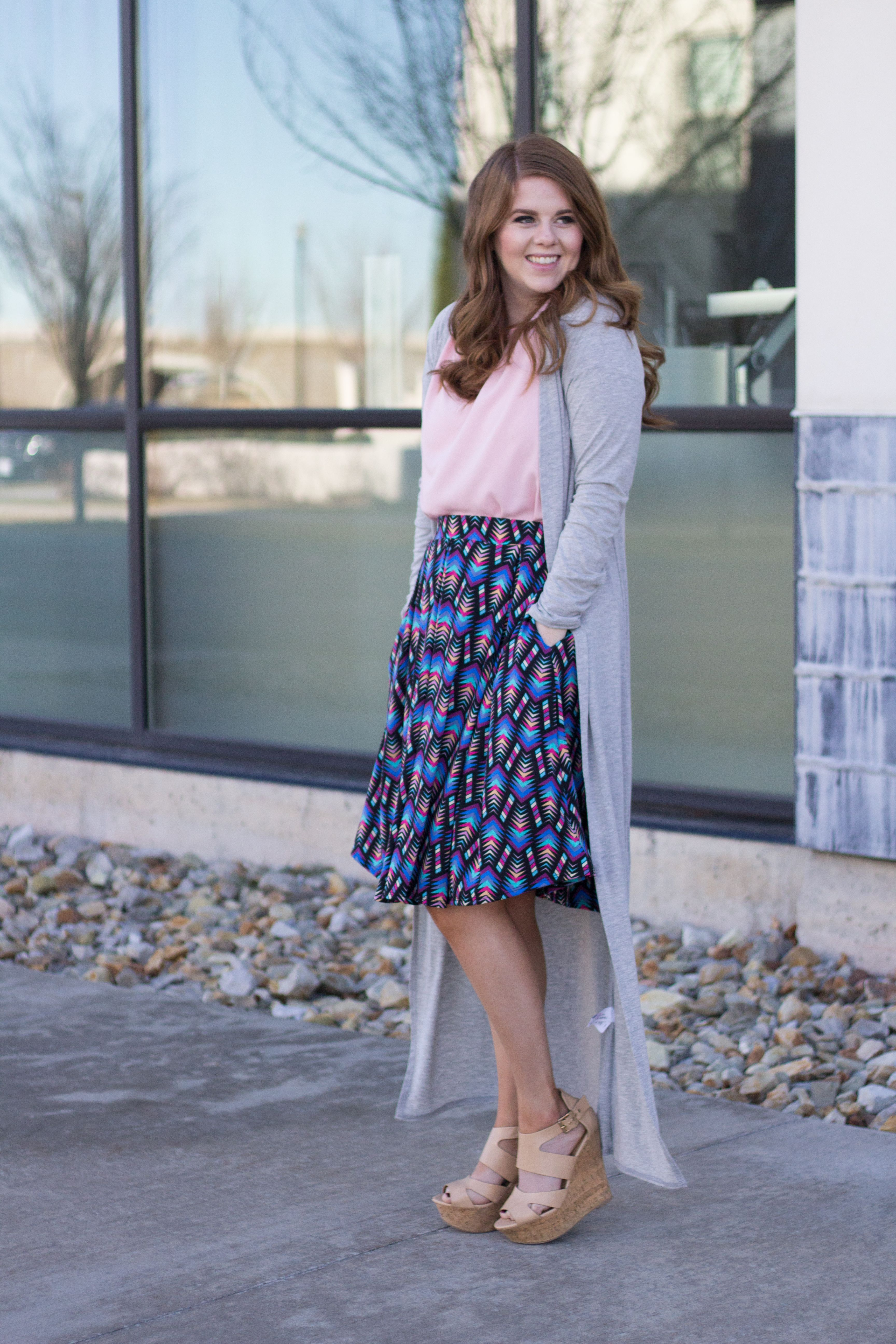 Date night chic with the Lularoe Madison and long grey duster. @lularoe : Modest Summer Outfit