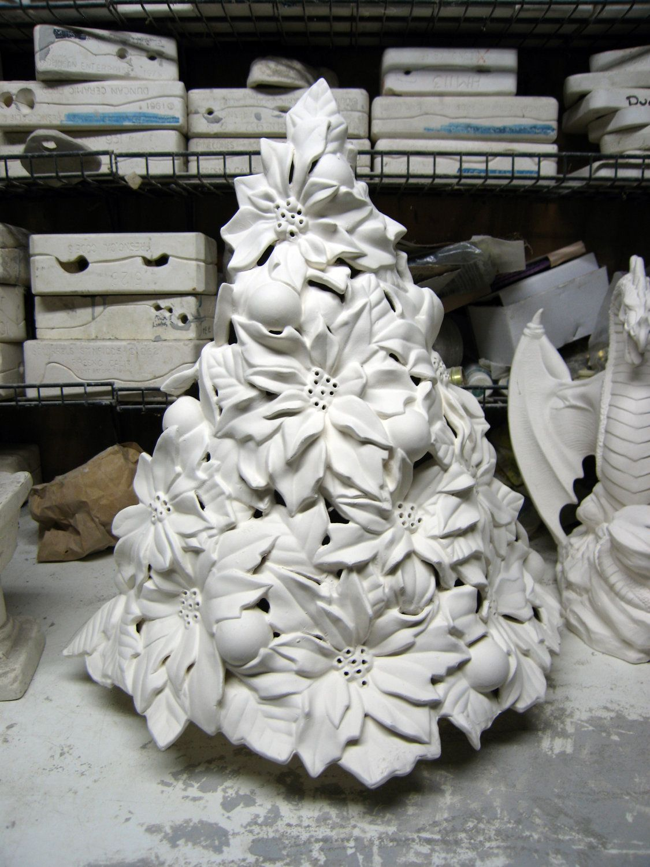 Rare Vintage Table Top Tree Poinsettia Tree Ceramic Christmas Tree