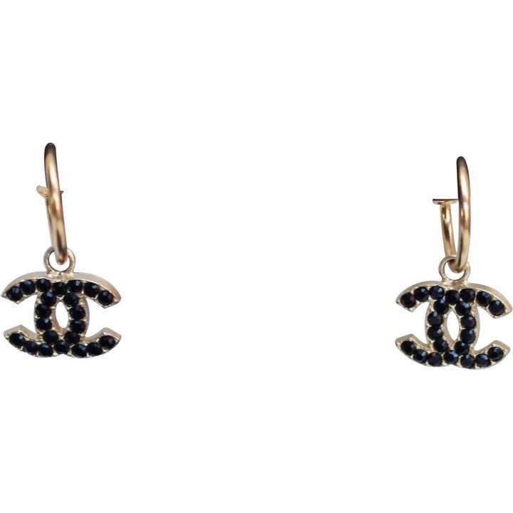 Chanel Vintage Cc Black Metal Earrings Black Stud Earrings Chanel Chanel Earrings