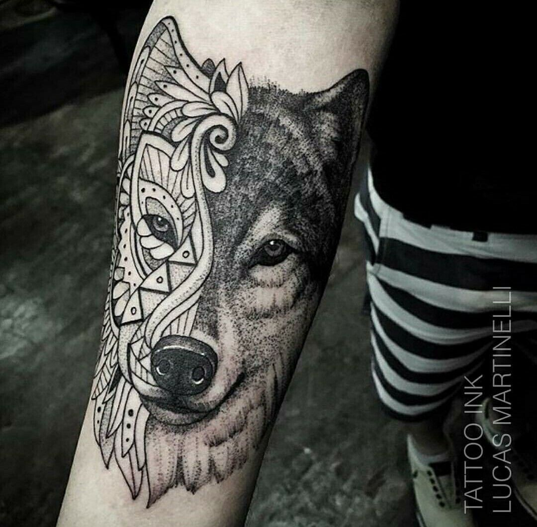 Geometric Wolf Sleeve: #tattoo #tatuagem #ink #inked #bodymodification