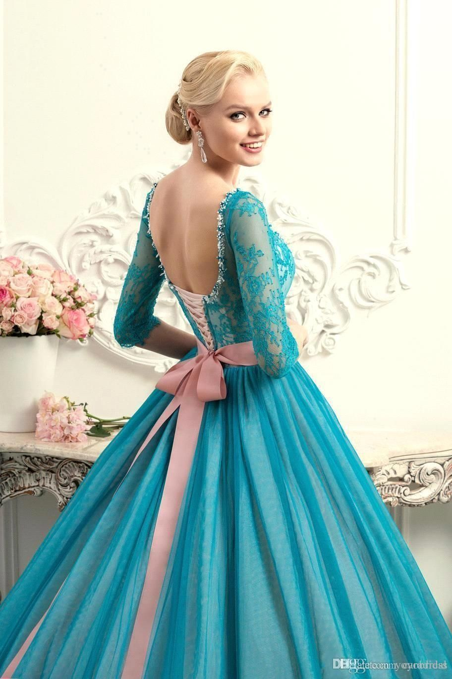 Cheap modest teal quinceanera dresses square neck half long sleeves
