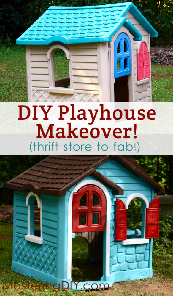 Do it yourself painted playhouse makeover playhouses frugal and diy frugal painted playhouse makeover solutioingenieria Images