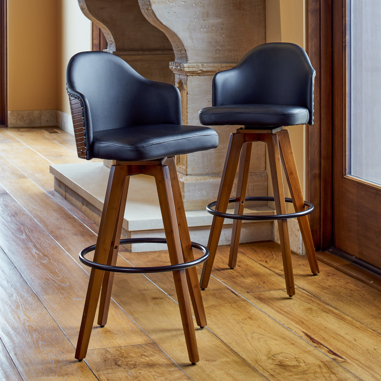 Fabulous Corvus Metz Mid Century Bonded Leather Swivel Bar Stool Set Andrewgaddart Wooden Chair Designs For Living Room Andrewgaddartcom