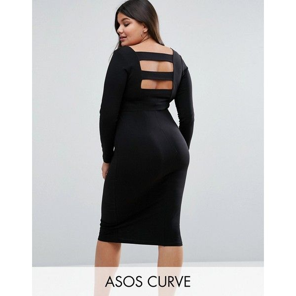 Asos Curve Long Sleeve Midi Dress With Strap Back Detail 37