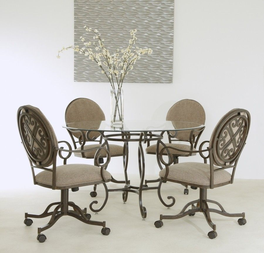 Beautiful Glass Top Swivel Tilt Caster Dinette Set By Pastel Furniture Available At Www Disocuntdinettes Com Dinette Sets Furniture Dinette