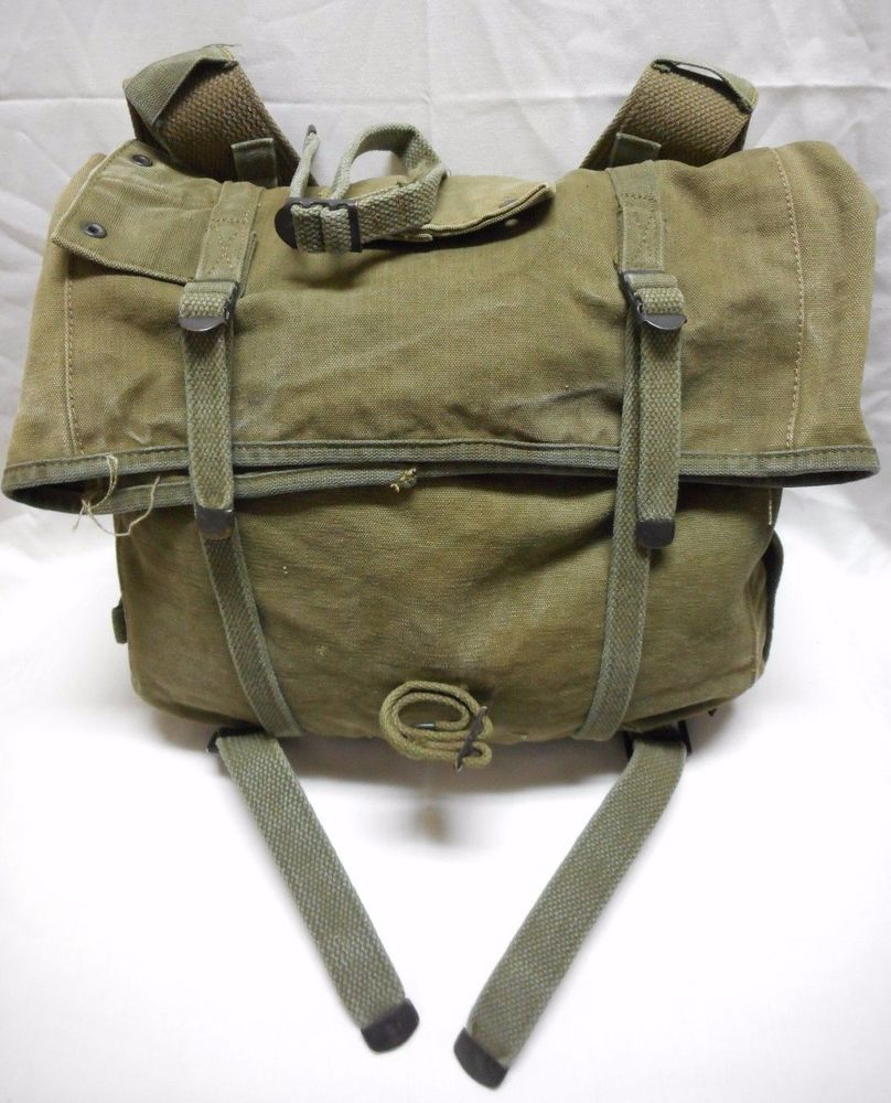 56f875c4ce93 Details about WWII M1928 Haversack Field Pack and Meat Can Pouch ...