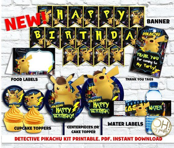 Pikachu Detective Kit Printable Pikachu Detective Party Pikachu