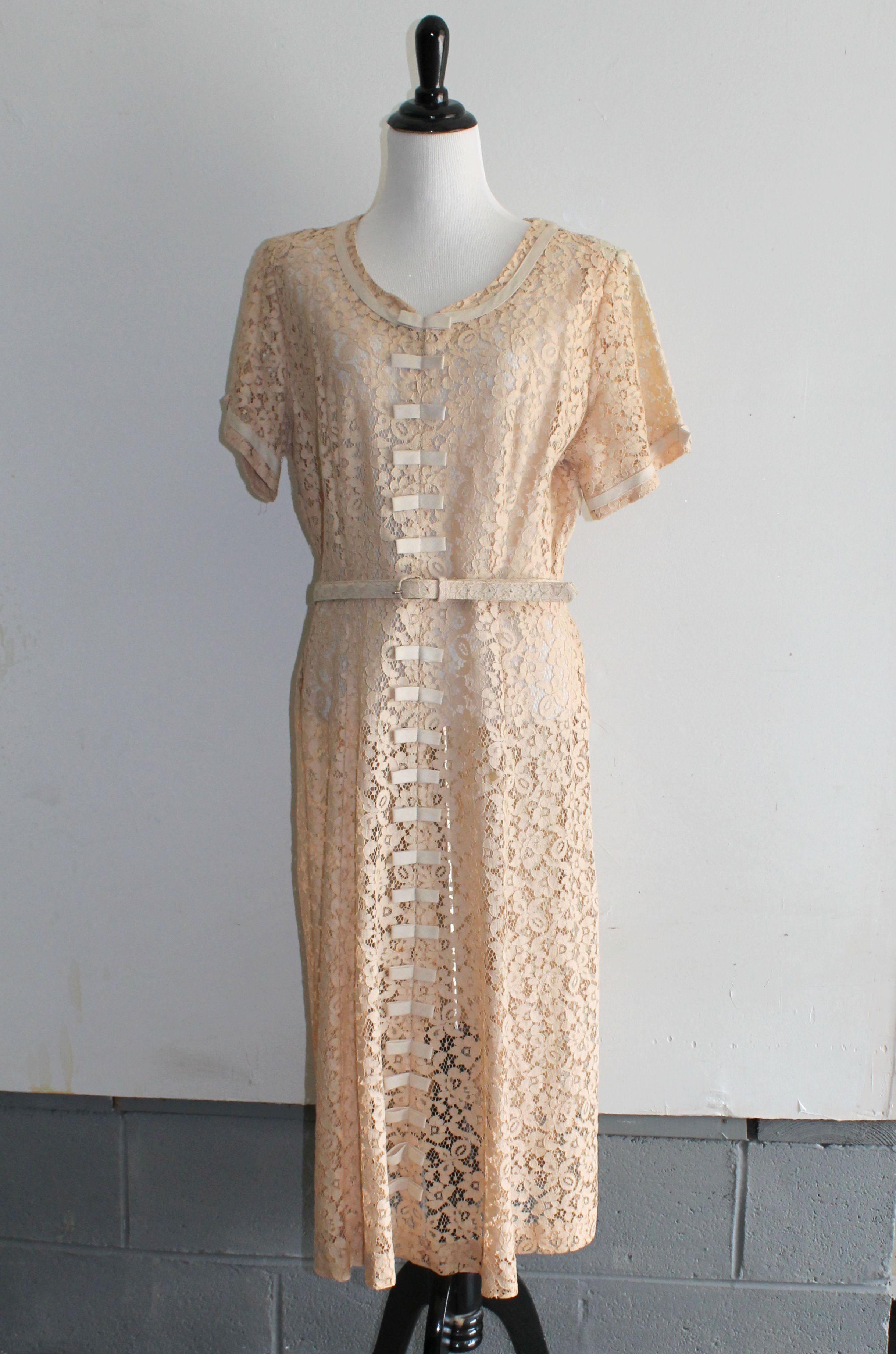 50s wedding dress lace  s Guaranteed by Good Housekeeping light caramel lace dress