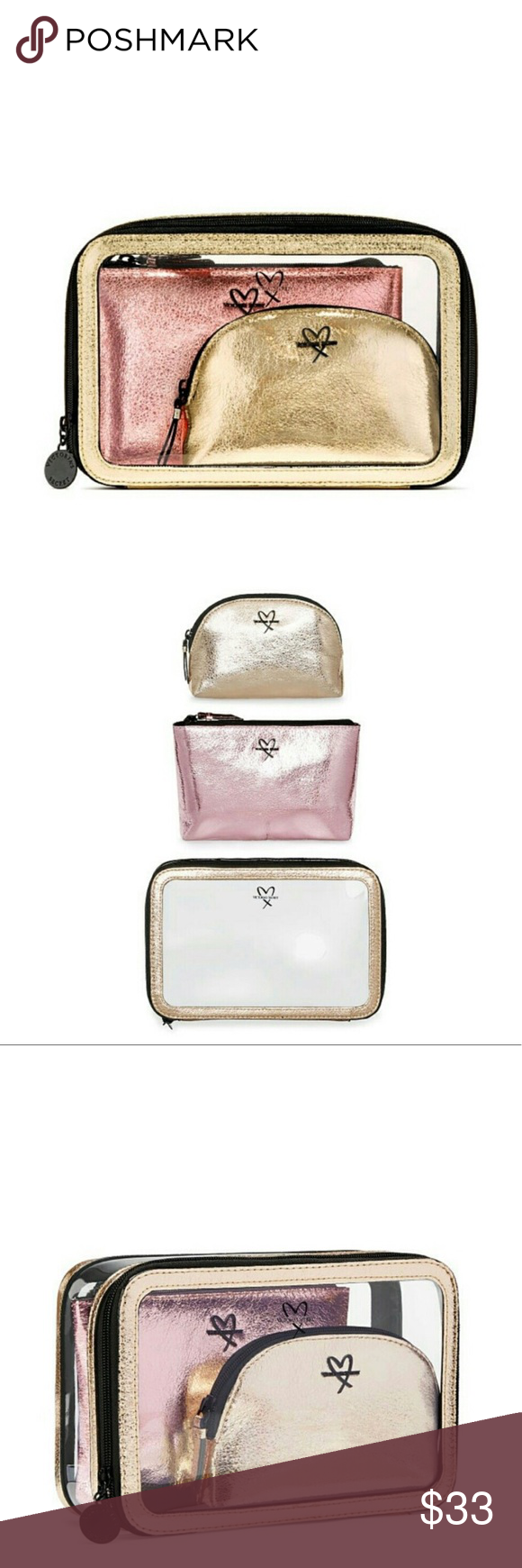 78248cda6f22 NWT Victoria s Secret Metallic Travel Makeup Bags Brand new Victoria s  Secret Metallic nested travel beauty makeup bag set. All 3 are in perfect  condition!