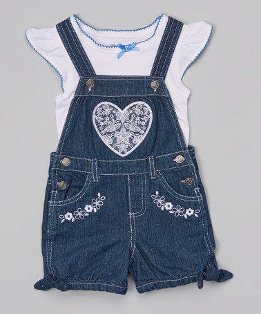 Look at this #zulilyfind! White Top & Blue Denim Heart Shortalls - Girls by Nannette Girl #zulilyfinds