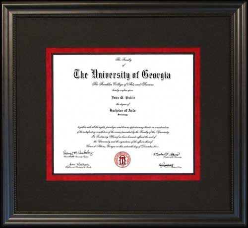 diploma frame uga university frames georgia college academy