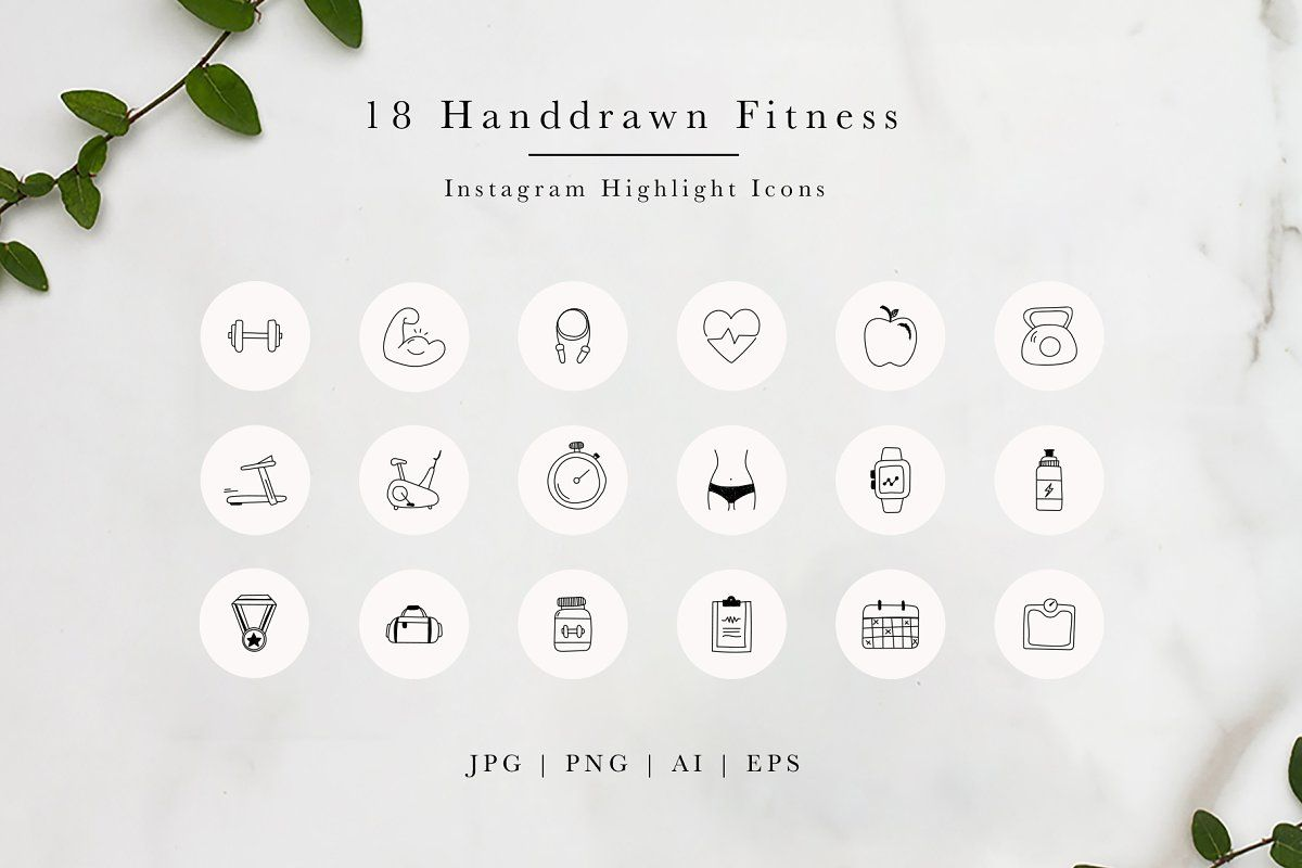 20 Highlight Covers in 4 Colours and Transparent Monochrome Gym Fitness Pack 120 Instagram Story Highlight Icons