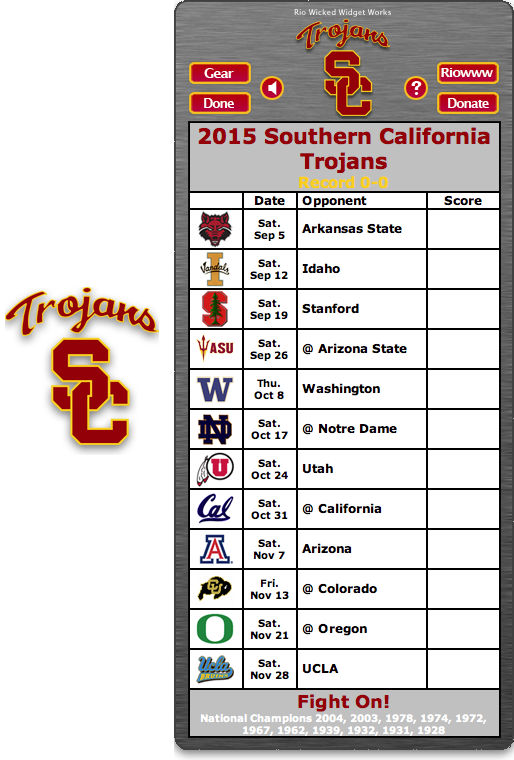 Free 2015 USC Trojans Football Schedule Widget for Mac OS