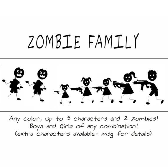 Zombie Stick Figure Family Vinyl Decal For Car Or Wall