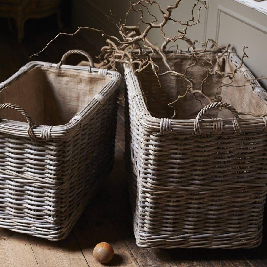 Rectangular Rattan Log Basket With Wheels And Handles Basket