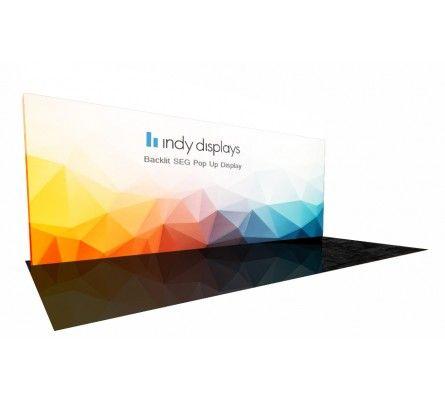 IndyDisplays.com Exclusive NEW 20' Backlit SEG Fabric LED Lightbox Hybrid Pop Up Display Kit. The world's most portable 10x20 backlit trade show display.