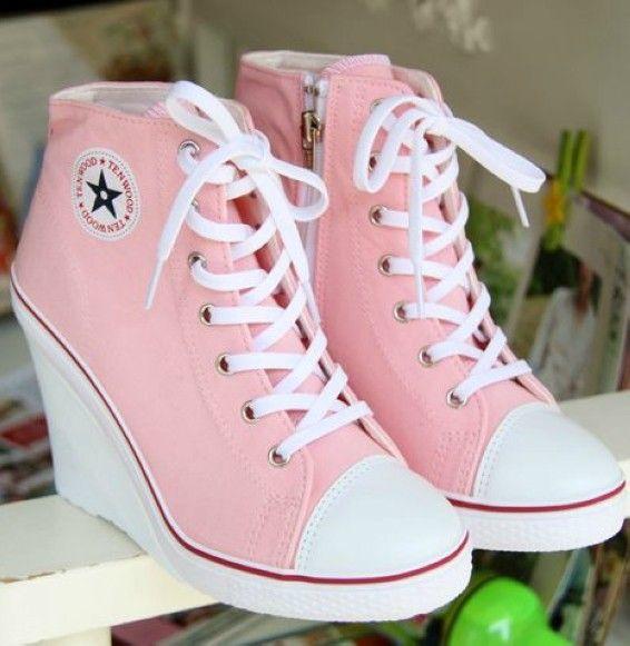 pink converse wedge sneakers Online