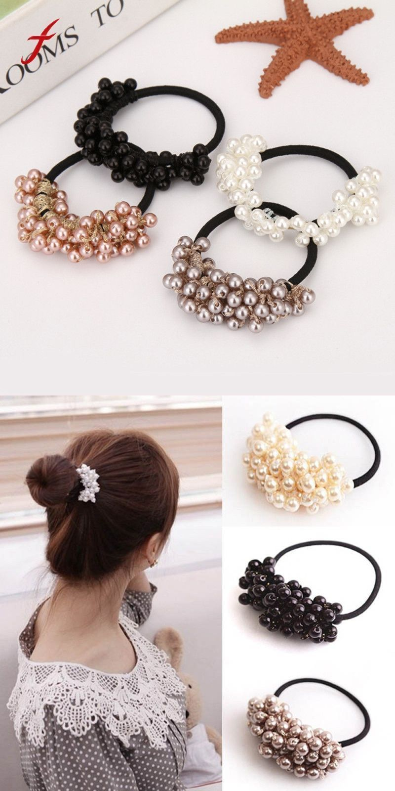 Apparel Accessories Elegant Women Fashion Summer Style Flower Simulated Pearls Elastic Hair Bands Girls Rope Ponytail Holder Hair Accessories