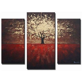 The Golden Foliage 3-panel canvas art set features a contemporary style and  is 100
