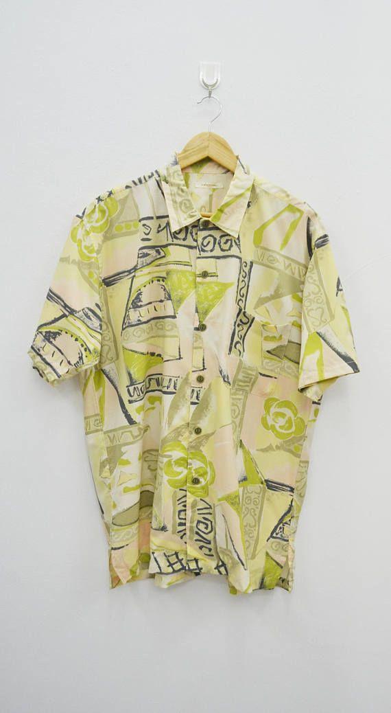 GUY LAROCHE Shirt Vintage Guy Laroche Paris Sportswear All Over Print Multicolor Abstract Theme 100% Cotton Button Down Shirt Size L yInvPS85