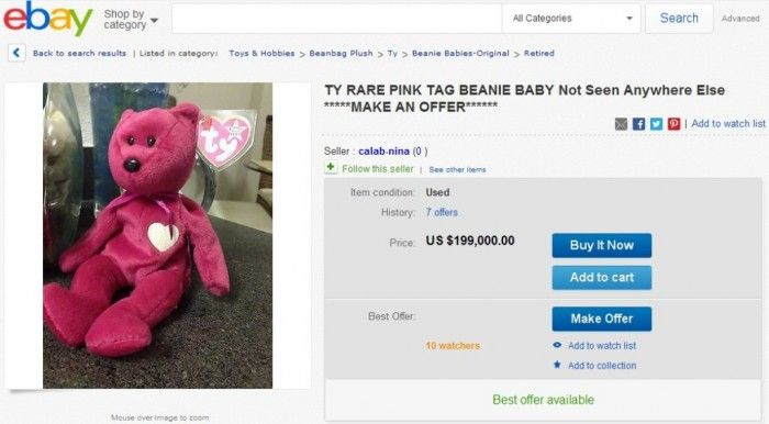 Top 10 Most Valuable Beanie Babies 2014 ... TY RARE PINK TAG BEANIE BABY 008c66febdb