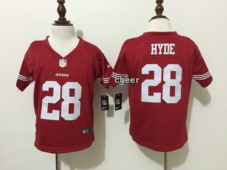 6e3aa956b NFL San Francisco 49ers  28 hyde red Kid Jersey BM