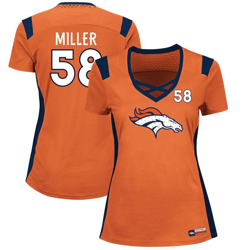 Von Miller Denver Broncos Majestic Women's Draft Him Name & Number Fashion T-Shirt - Orange