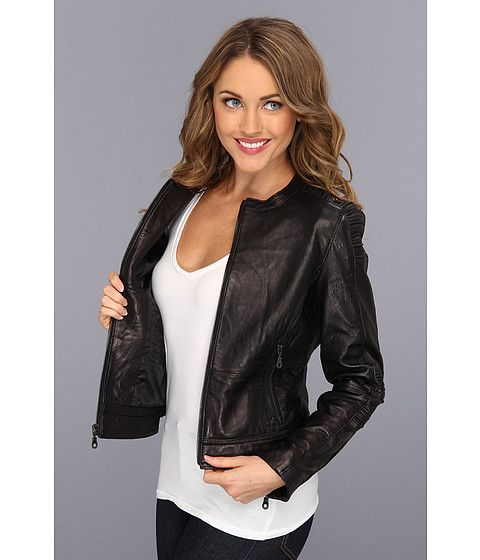 DKNY Collarless Zip Front Leather Jacket Black - Zappos.com Free ...