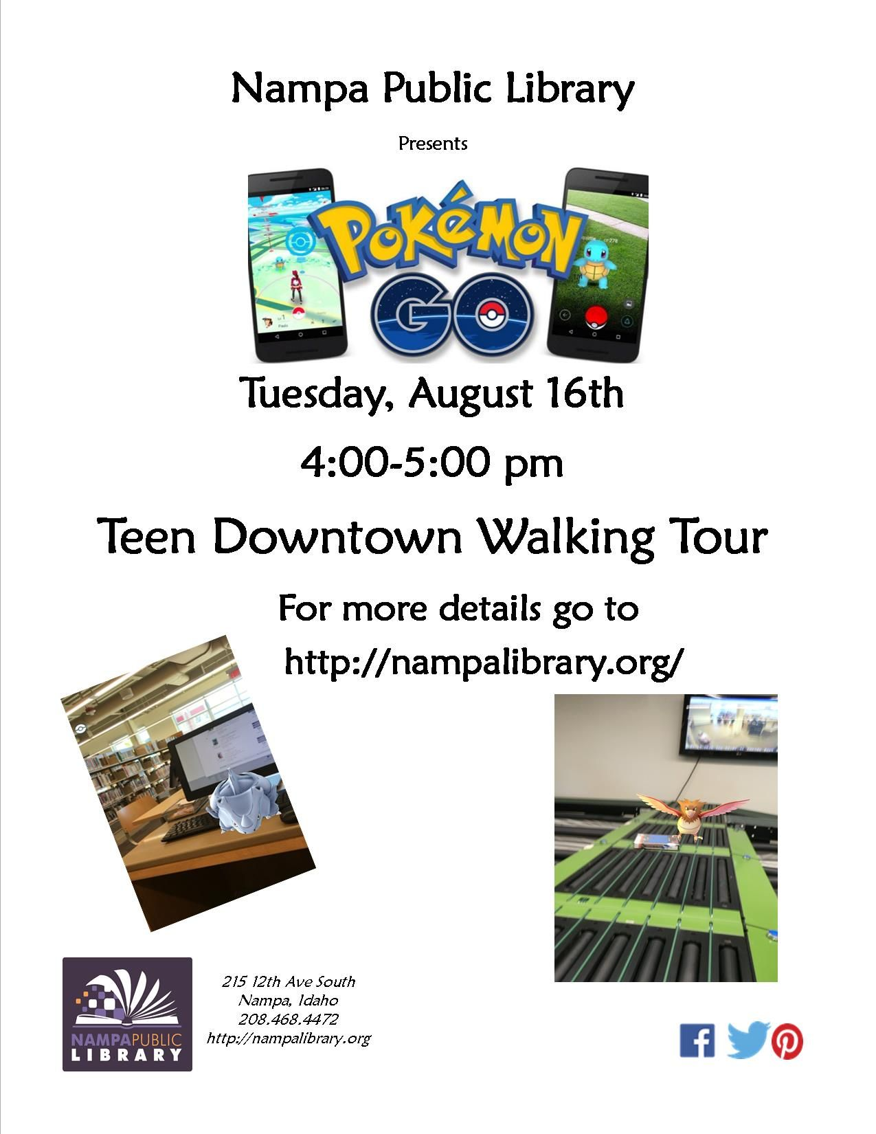 Pokemon Go, Teen Downtown Walking Tour, Tues, August 16, 2016 from 4-5pm.
