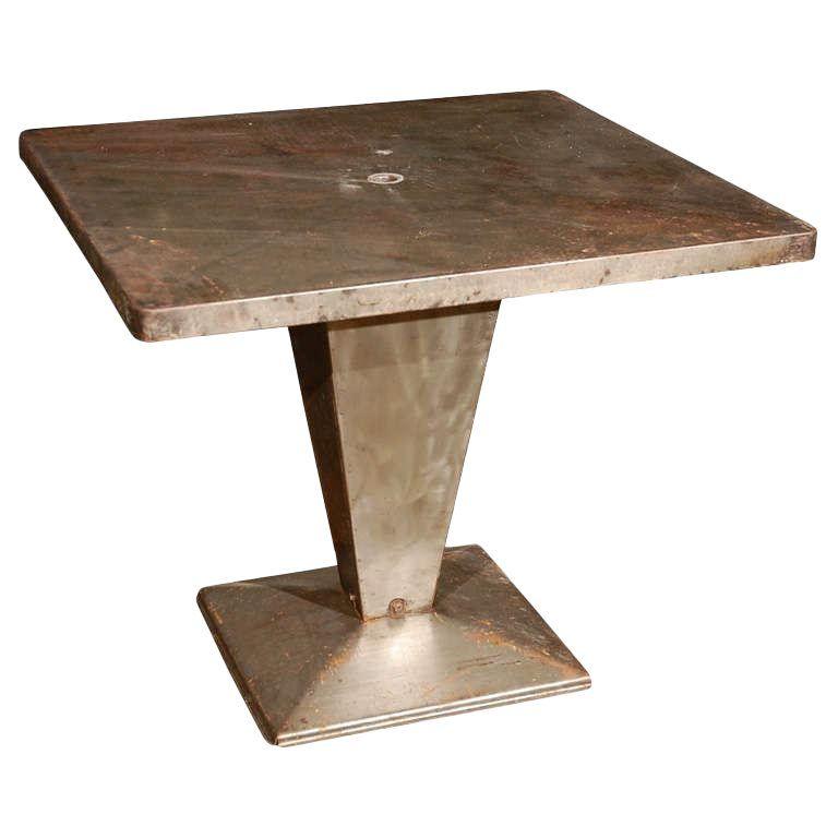 Modern Italian Garden Design: Italian Art Deco Square Top Metal Table On Tapered