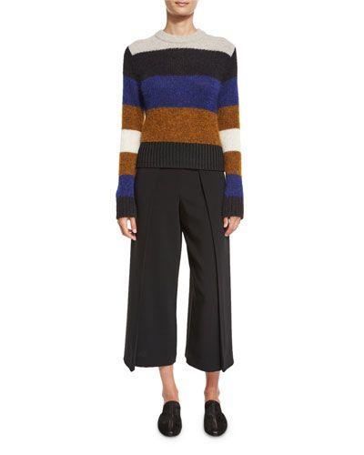 TDEG0 Rag & Bone Britton Striped Wool-Blend Pullover Sweater, Ash