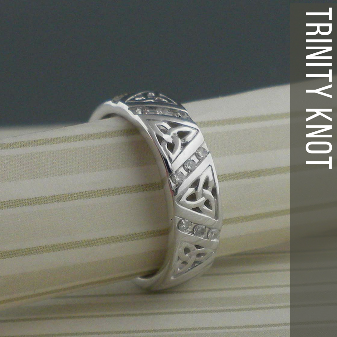 Diamond Trinity Knot Wedding Ring made in Ireland by Shanore