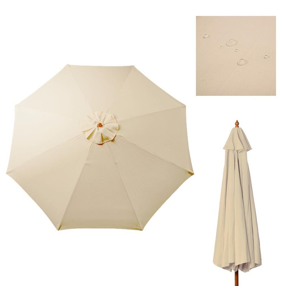 9ft Patio Umbrella Cover Canopy Replacement Top Outdoor Tan For 8 Ribs Beige