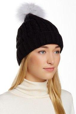 Genuine Fox Fur Pompom Cable Knit Beanie